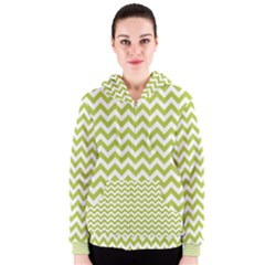 Spring Green & White Zigzag Pattern Women s Zipper Hoodie