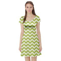 Spring Green & White Zigzag Pattern Short Sleeve Skater Dress