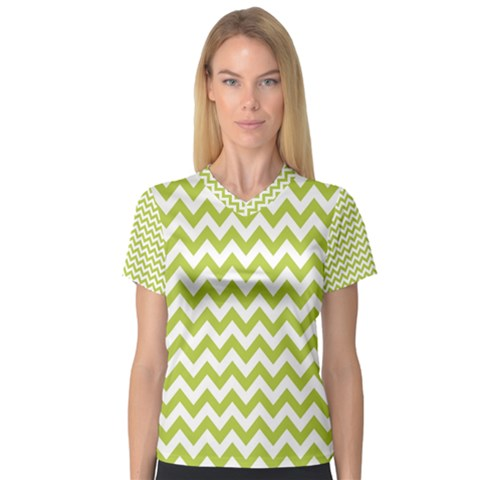 Spring Green & White Zigzag Pattern Women s V-neck Sport Mesh Tee by Zandiepants