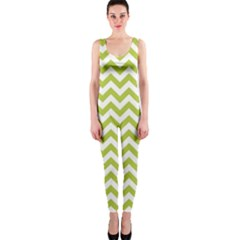 Spring Green & White Zigzag Pattern Onepiece Catsuit