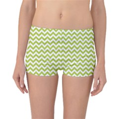 Spring Green & White Zigzag Pattern Boyleg Bikini Bottoms