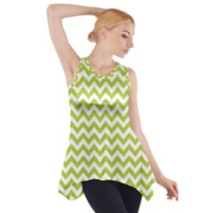 Spring Green & White Zigzag Pattern Side Drop Tank Tunic