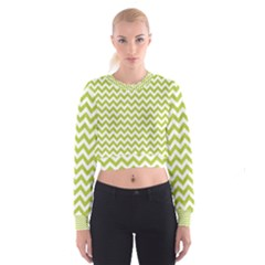 Spring Green & White Zigzag Pattern Women s Cropped Sweatshirt