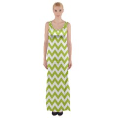 Spring Green & White Zigzag Pattern Maxi Thigh Split Dress