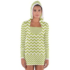 Spring Green & White Zigzag Pattern Women s Long Sleeve Hooded T Shirt