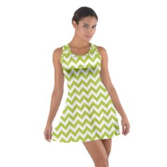 Spring Green & White Zigzag Pattern Racerback Dresses