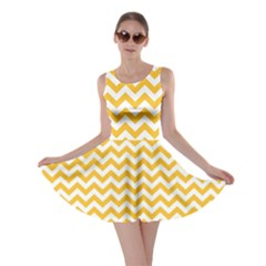 Sunny Yellow & White Zigzag Pattern Skater Dress