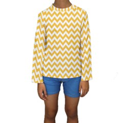 Sunny Yellow & White Zigzag Pattern Kid s Long Sleeve Swimwear by Zandiepants