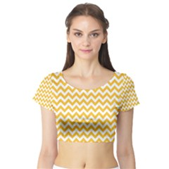 Sunny Yellow & White Zigzag Pattern Short Sleeve Crop Top (tight Fit)