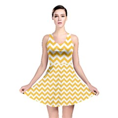 Sunny Yellow & White Zigzag Pattern Reversible Skater Dress