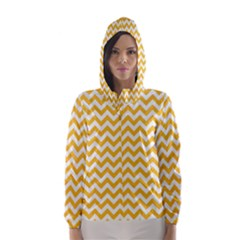 Sunny Yellow & White Zigzag Pattern Hooded Wind Breaker (women)