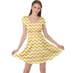Sunny Yellow & White Zigzag Pattern Cap Sleeve Dresses