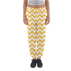 Sunny Yellow & White Zigzag Pattern Women s Jogger Sweatpants