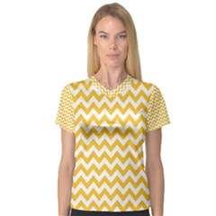 Sunny Yellow & White Zigzag Pattern Women s V Neck Sport Mesh Tee