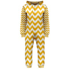 Sunny Yellow & White Zigzag Pattern Hooded Jumpsuit (ladies)