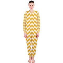 Sunny Yellow & White Zigzag Pattern Onepiece Jumpsuit (ladies)
