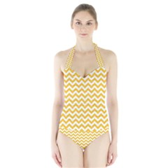 Sunny Yellow & White Zigzag Pattern Women s Halter One Piece Swimsuit