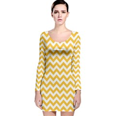 Sunny Yellow & White Zigzag Pattern Long Sleeve Velvet Bodycon Dress