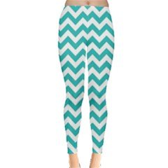 Turquoise & White Zigzag Pattern Leggings