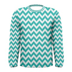 Turquoise & White Zigzag Pattern Men s Long Sleeve Tee
