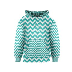 Turquoise & White Zigzag Pattern Kids  Pullover Hoodie