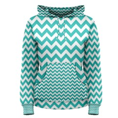 Turquoise & White Zigzag Pattern Women s Pullover Hoodie