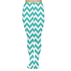 Turquoise & White Zigzag Pattern Women s Tights