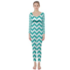 Turquoise & White Zigzag Pattern Long Sleeve Catsuit