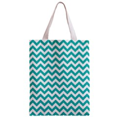 Turquoise & White Zigzag Pattern Zipper Classic Tote Bag