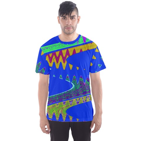 Colorful Wave Blue Abstract Men s Sport Mesh Tee by BrightVibesDesign