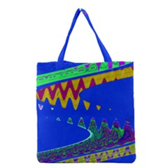 Colorful Wave Blue Abstract Grocery Tote Bag by BrightVibesDesign