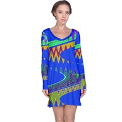 Colorful Wave Blue Abstract Long Sleeve Nightdress by BrightVibesDesign