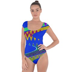 Colorful Wave Blue Abstract Short Sleeve Leotard (ladies) by BrightVibesDesign
