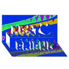 Colorful Wave Blue Abstract Best Friends 3d Greeting Card (8x4)