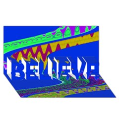 Colorful Wave Blue Abstract Believe 3d Greeting Card (8x4)  by BrightVibesDesign