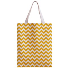 Sunny Yellow & White Zigzag Pattern Zipper Classic Tote Bag