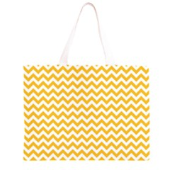 Sunny Yellow & White Zigzag Pattern Zipper Large Tote Bag