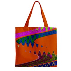 Colorful Wave Orange Abstract Zipper Grocery Tote Bag