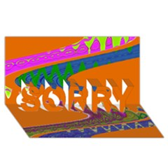 Colorful Wave Orange Abstract Sorry 3d Greeting Card (8x4)  by BrightVibesDesign