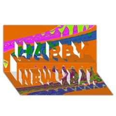 Colorful Wave Orange Abstract Happy New Year 3d Greeting Card (8x4)  by BrightVibesDesign