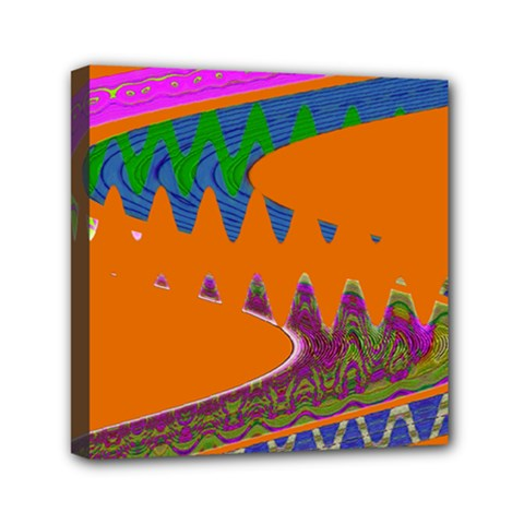 Colorful Wave Orange Abstract Mini Canvas 6  X 6  by BrightVibesDesign