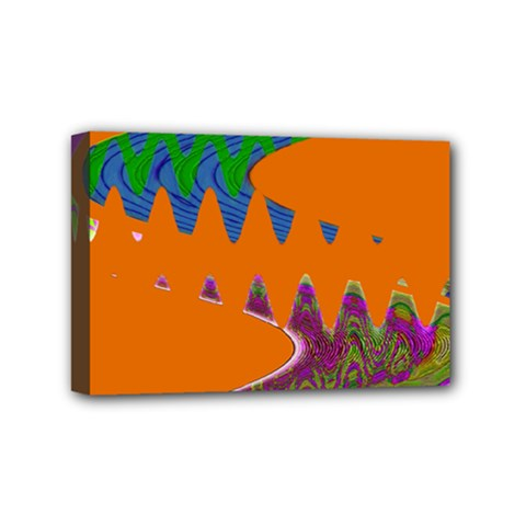 Colorful Wave Orange Abstract Mini Canvas 6  X 4  by BrightVibesDesign