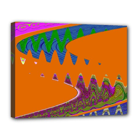 Colorful Wave Orange Abstract Canvas 14  X 11  by BrightVibesDesign