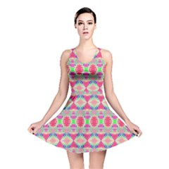 Pretty Pink Shapes Pattern Reversible Skater Dress by BrightVibesDesign