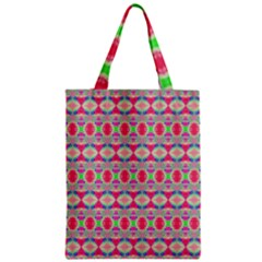 Pretty Pink Shapes Pattern Zipper Classic Tote Bag by BrightVibesDesign