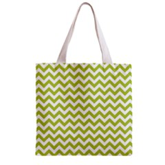 Spring Green & White Zigzag Pattern Zipper Grocery Tote Bag