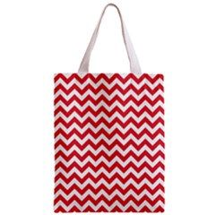 Poppy Red & White Zigzag Pattern Zipper Classic Tote Bag