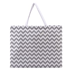 Medium Grey & White Zigzag Pattern Zipper Large Tote Bag by Zandiepants