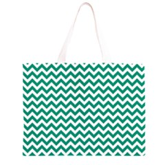 Emerald Green & White Zigzag Pattern Zipper Large Tote Bag by Zandiepants