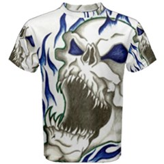 Blue Flame Skull Men s Cotton Tee by Limitless